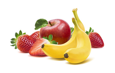 Banana, apples and strawberry composition 4 isolated on white background as package design element