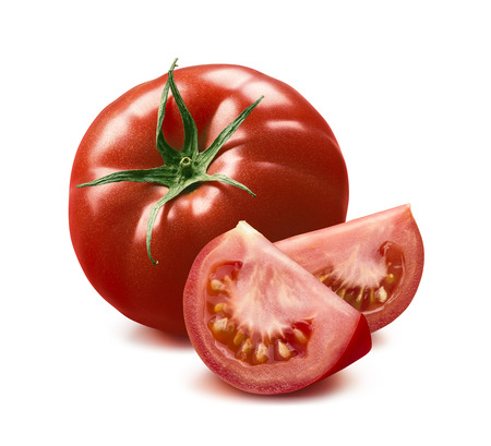 Whole tomato and two quarters isolated on white background