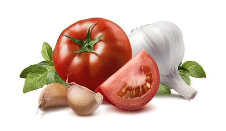 basil: Tomato, basil leaves, garlic cloves isolated on white background as package design element