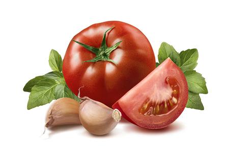 トマト、バジルの葉、ニンニク クローブ 3 パッケージ デザイン要素として白い背景に分離