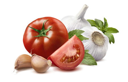 basil: Tomato, basil leaves, garlic bulbs, cloves 2 isolated on white background as package design element