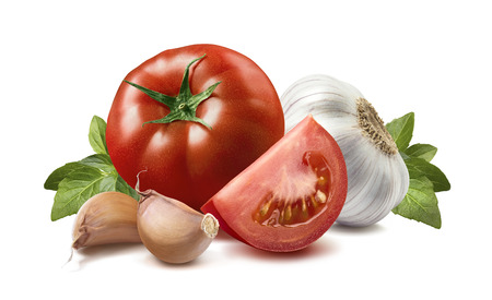 garlic clove: Tomato, basil leaves, garlic bulbs, cloves 4 isolated on white background as package design element