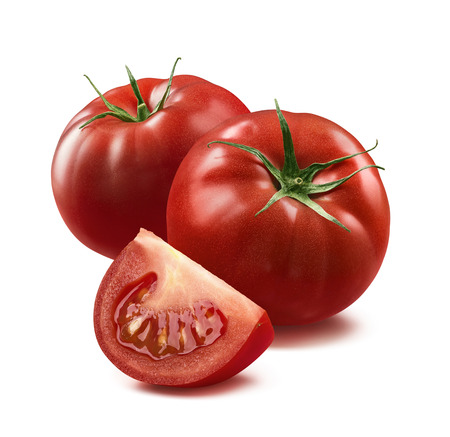 2 tomatoes and quarter piece isolated on white background as package design element