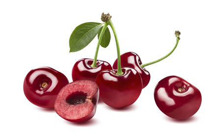 Sweet cherry horizontal composition isolated on white background as package design element