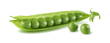 ejotes: Single pea pod isolated on white background as package design element Foto de archivo