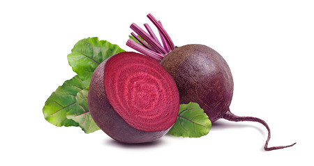 Whole beet root and half isolated on white background as package design element Stockfoto