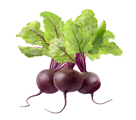 roots: 3 whole beet root and leaves isolated on white background as package design element