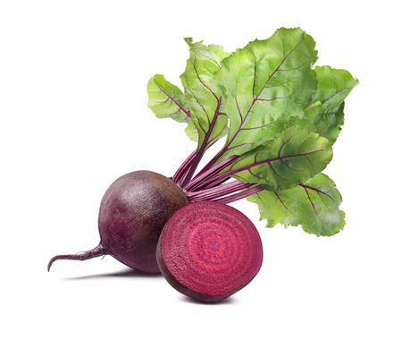 Whole beet root half composition isolated on white background as package design element
