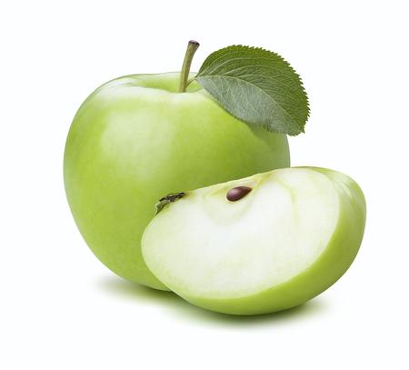 manzana verde: Composición trimestre de manzana verde aislado en el fondo blanco como elemento de diseño de paquete