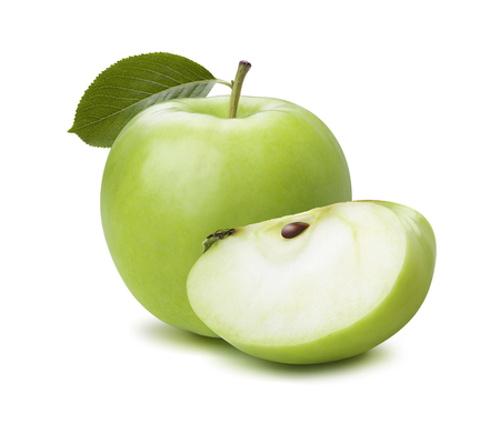 Green apple and quarter leaf isolated on white as package design element