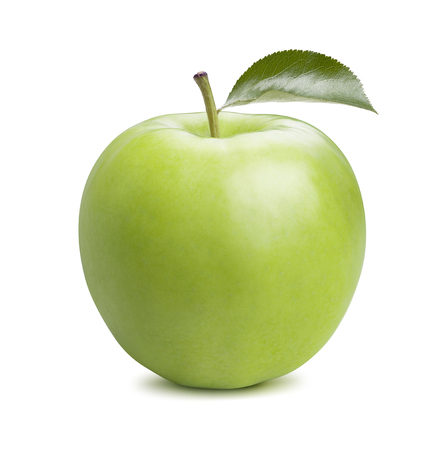 Single whole green apple isolated on white background as package design element
