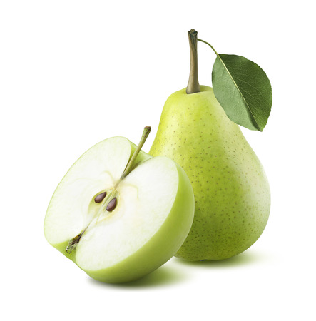 pear: Green pear apple half isolated on white background as package design element