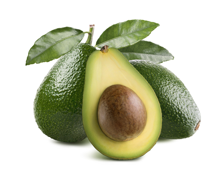 Whole avocados leaves and half with seed isolated on white background as package design element