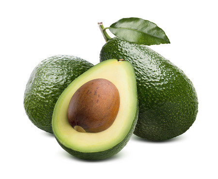 Green fresh whole avocado and cut half with seed isolated on white background as package design element
