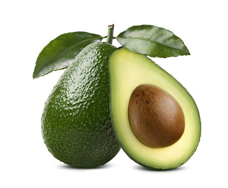 Whole avocado with leaves and cut half seed isolated on white background as package design element Archivio Fotografico