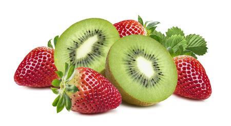 kiwi: Kiwi strawberry rich composition horizontal isolated on white background as package design element
