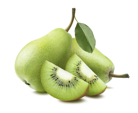 kiwi: Pears kiwi quarter pieces 2 composition isolated on white background as package design element