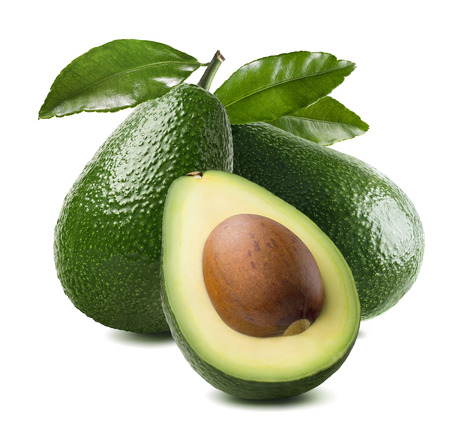 3 avocado cut half seed leaves isolated on white background as package design element Standard-Bild