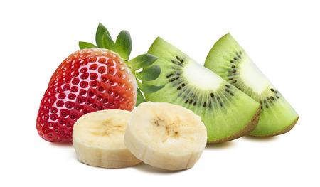 kiwi: Strawberry kiwi quarter 2 piece banana isolated on white background as package design element Stock Photo