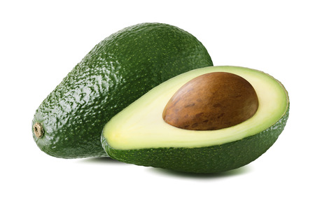 Avocado double set seed isolated on white background as package design element Standard-Bild