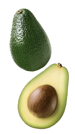Double avocado vertical cut combo isolated on white background as package design element