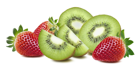 Fresh kiwi strawberry big rich composition isolated on white background as package design element