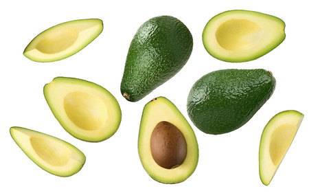 Avocado pieces set isolated on white background as package design element 스톡 콘텐츠