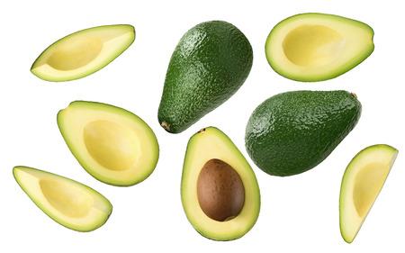 Avocado stukken set geïsoleerd op een witte achtergrond als pakket design element Stockfoto