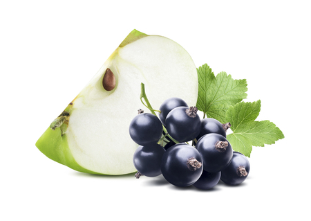 Green apple piece black currant isolated on white background as package design element