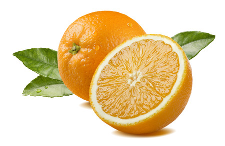 Fresh whole orange half piece with leaves and water drops isolated on white background as package design element Foto de archivo