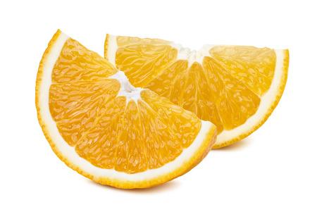 2 orange quarter slices isolated on white background as package design element Standard-Bild