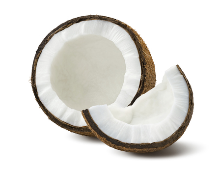 exotic fruits: Coconut pieces broken isolated on white background as package design element