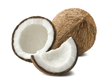 Coconut pieces composition broken isolated on white background as package design element