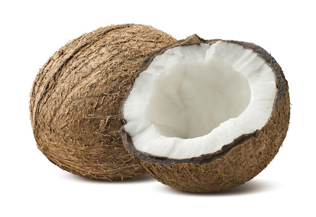 Rough coconut whole half pieces isolated on white background as package design element Stock Photo