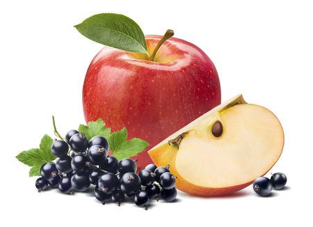 빨간 사과 블랙 커런트는 패키지 디자인 요소로 흰색 배경에 고립