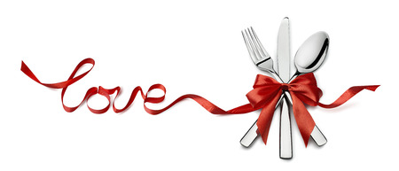 Valentine fork, knife, spoon, silverware in red ribbon love letters design element isolated on white background for catering, menu, email, banner, restaurant party celebration Stockfoto