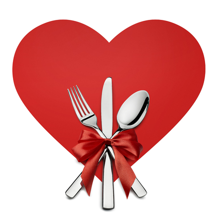 fork and knife: Valentine fork, knife, spoon on red heart shape design element isolated on white background for catering, menu, email, banner, restaurant party celebration