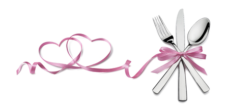 Fork knife spoon with pink ribbon heart design element Valentine isolated for event or party poster, banner, email, menu, invitation, catering service ad Stock Photo