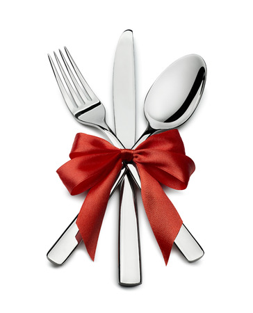 Fork knife spoon with red bow design element Valentine isolated for event or party poster, banner, email, menu, invitation, catering service ad