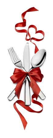 white party: Fork knife spoon vertical red ribbon heart design element Valentine isolated for event or party poster, banner, email, menu, invitation, catering service ad