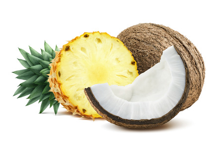 Pineapple coconut pieces composition 1 isolated on white background as package design element for tropical cocktails Stok Fotoğraf