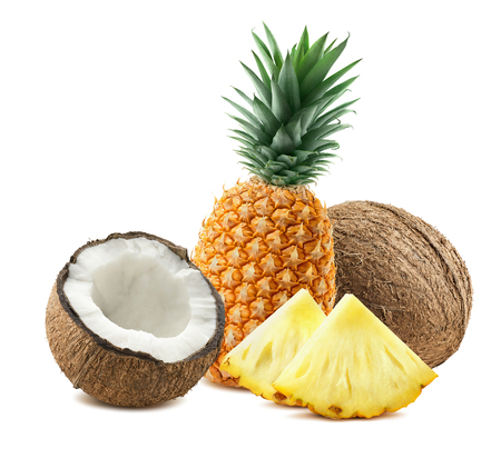 Pineapple whole coconut pieces composition 3 isolated on white background as package design element for tropical cocktails