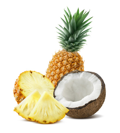 Pineapple whole coconut pieces composition 4 isolated on white background as package design element for tropical cocktails