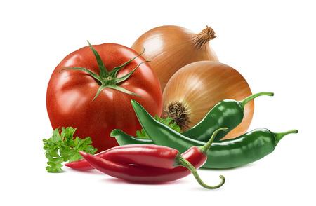 tomates: légumes mexicains mis tomate oignon piment persil isolé sur fond blanc comme élément de design de l'emballage