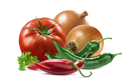 red chili pepper: Mexican vegetables set tomato onion chili pepper parsley isolated on white background as package design element Stock Photo