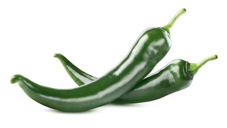 Groen hot chili peppers dubbel geïsoleerd op een witte achtergrond als pakket design element Stockfoto - 53107102