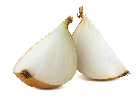 Common onion 2 quarters isolated on white background as package design element