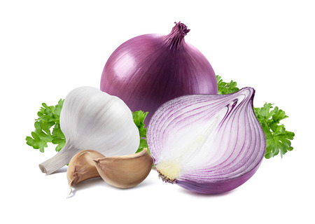Red purple onion garlic parsley isolated on white background as package design element Stok Fotoğraf