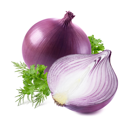 Purple onion parsley dill isolated on white background as package design element