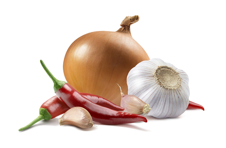 Onion garlic chili pepper isolated on white background as package design element Standard-Bild